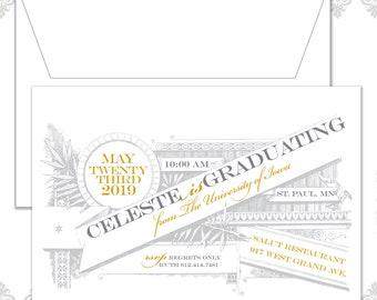 Vintage Banner Graduation Announcement, Grad Invite, Vintage Graduation Invitation, College Graduate,  Vintage Graduate Announcement