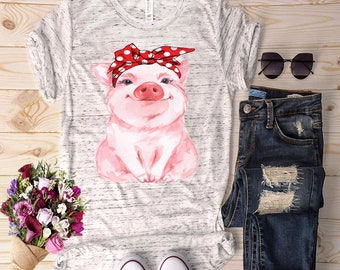 Pig with bandana Premium super-soft Graphic Tee, Graphic Shirt. Workout Shirt. Women's Tees/T-shirts/ Active wear/