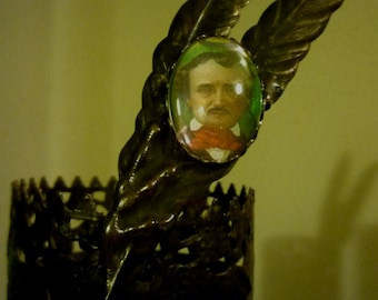 Edgar Allan Poe - The Raven Halloween Red and Black Stained Glass Mosaic Candle Holder