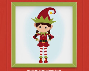 Clipart - Christmas Elf Girl Clipart (Single Clipart Image) - Digital Clip Art (Instant Download)