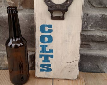 Colts Wall Mount Bottle Opener Colts Bottle Opener Wall Bottle Opener Hanging Bottle Opener Indianapolis Colts Man Cave Game Room