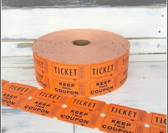 Orange Raffle Tickets  - (20) Vintage Tickets - Orange Double Raffle Carnival Party Tickets