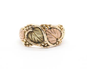 Landstrom's Black Hills Gold Green and Pink Leaf Ring, Landstrom's Black Hills Gold Band Ring, Landstrom Wedding Ring, Landstrom Black Hills