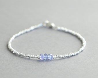 Tanzanite Bracelet Beaded Bracelet December Birthstone Gemstone Bracelet Hill Tribe Silver Stacking Bracelet