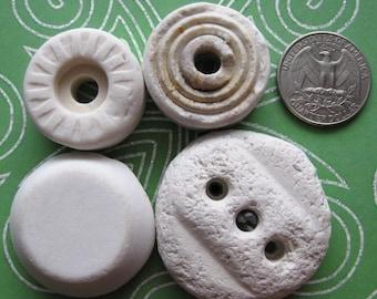 White Ceramic Insulators Porcelain Cap 4 Pcs | Ceramic Cap | Beach Pottery | Surf Tumbled Insulators | Porcelain Insulators | Beach Find