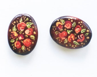 Hand painted wood link, jewelry link, painted wood, wood bead, woodland jewelry, wood pendants, painted wood pendant, flower link