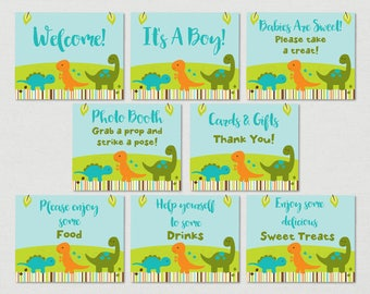 Cute Dinosaur Baby Shower Table Signs / Dinosaur Baby Shower / Dinosaur Table Signs / 8 Printable Party Signs / INSTANT DOWNLOAD A173
