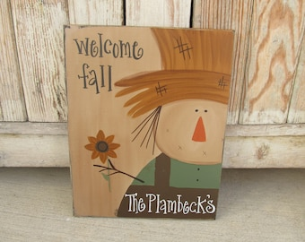 Primitive Scarecrow Autumn Fall Personalized Hand Painted Wooden Sign GCC4659