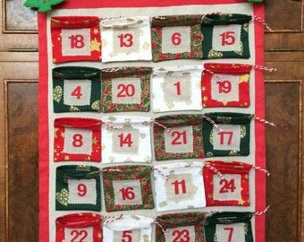 Children's Christmas Advent Calendar Individual Pockets HANDMADE Personalised Name