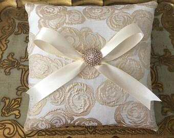 ROSE GOLD Ring Bearer Pillow.Rose Gold Ivory Ring Bearer Pillow.Square Rose Gold Ring Bearer Pillow.Rose Gold Brocade.Ring Bearer Pillow