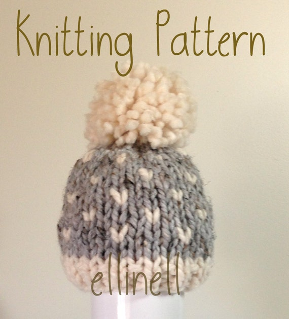 Knit Hat PATTERN Newborn Baby Toddler Fair Isle Knit Chunky