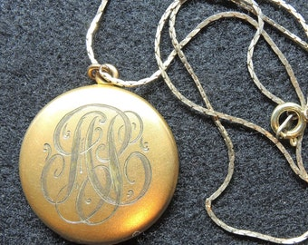 Two Sided 12K Gold Plated Locket, Monogrammed ASC Victorian Script, Rhinestone Cross