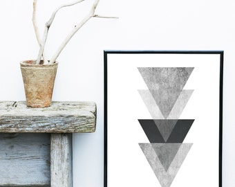 Grey Triangle Print, Geometric Art, Geometric Wall Art, Scandinavian Art, Minimalist Poster, Giclee print, Abstract Wall Art, Art Print