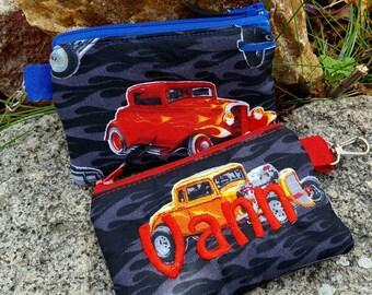 Personalized Boys zipper Wallet, Muscle Car Coin Purse, Classic Car Zipper Bag