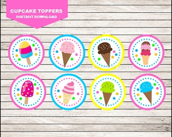 Ice Cream cupcakes toppers instant download, Ice Cream Toppers , Ice Cream Party Toppers