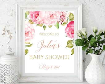 Baby Shower Welcome Sign Peonies Baby Shower decor Instant Download  Printable Baby Shower banner Baby Shower Gold Pink decoration idbss13