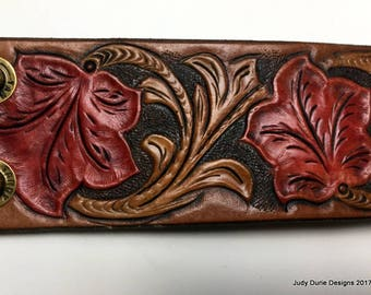 Leather Cuff, traditional sheridan tooling