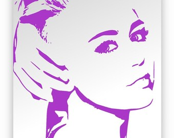 Miley Cyrus. Hand-carved, sanded and mirror tinted violet.