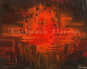Canvas print of original abstract red rust orange palette knife painting SPARK in THE DARK hand signed by Tatiana Iliina - free shipping