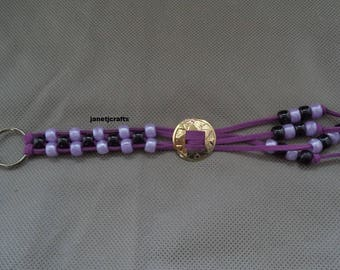 Keychain for women , Beaded key chain, Car accessories ,Back pack charm,  Leather key chain , Braided key chain , Purple purse charm