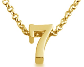 Number Seven ( 7 ) Symbol Serif Font Charm Pendant Necklace #14K Gold Plated over 925 Sterling Silver #Azaggi N0597G_7