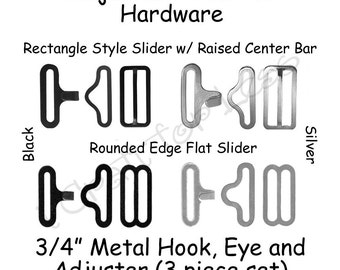 "50 Sets Adjustable Bow Tie Hardware Fastener Clips - 3/4"" Slide Adjuster, Hook and Eye - Select Style and Color - SEE COUPON"
