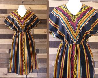 Vintage Boho Dress  Southwestern Chevron Stripe Ethnic Squaw