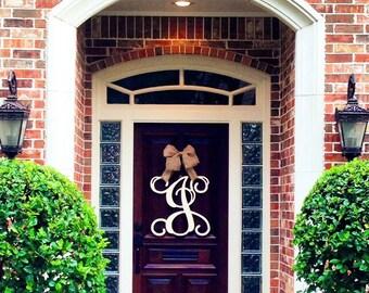 Custom Single MONOGRAM door hanger /UNFINISHED/ House warming gift/Script/chevron/Initial/wooden/wedding gift/front door decor