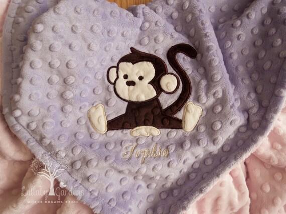Personalized baby gifts monkey minky baby blanket baby girl te gusta este artculo negle Images