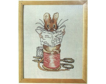 Tailor of Gloucester, Beatrix Potter cross-stitch kit, by Permin of Copenhagen, complete with linen and DMC floss