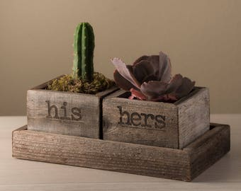 His & Hers Succulent Trough Tray Set