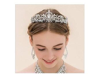 Silver Tiara Wreath Wedding Crown Bridal Rhinestones Crystal Hair Accessory
