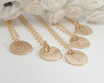 Bridesmaid Necklace Set - 14k Gold filled or Sterling silver - Bridesmaid Gifts - Personalized Necklace set