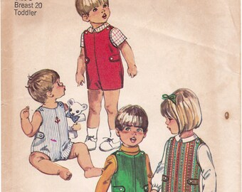 1970s Simplicity 8989 Toddlers' Jumpsuit in Two Lengths and Shirt; Overalls or Rompers Vintage Sewing Pattern, Size 1, Chest 20, Partly Cut