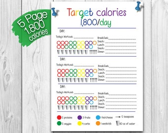 21 Day Fix BUNDLE - 1,800 Calorie Bracket, Shopping List, Measurement Tracker and More!