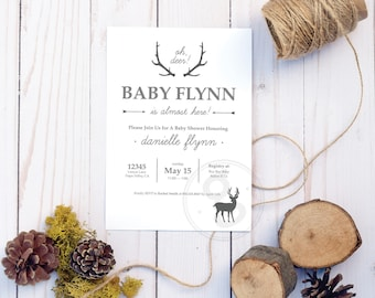 Oh Deer Baby Shower Invitation, Printable Custom Design