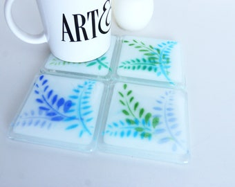 Ferns Fused Glass Coaster Set, Home Decor Housewares Set of 4  Fused Glass Art  Hostess Gift  Home Decor, GetGlassy