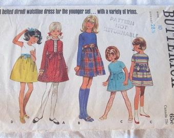 vintage Girls' BUTTERICK pattern 5087 One Piece Dress--  Girls size 10