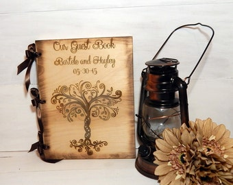 Wedding Guest Book or Words of Wisdom Book Rustic and Personalized Custom Guest Book with Whimsical Tree