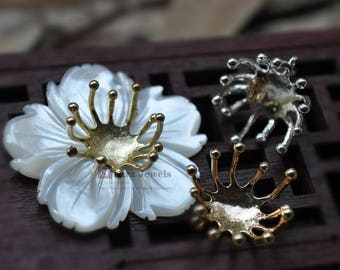 8pcs Brass Flower Stamen charm, 15mm,  Stamen Pendant,  Stamen beads for Flower.