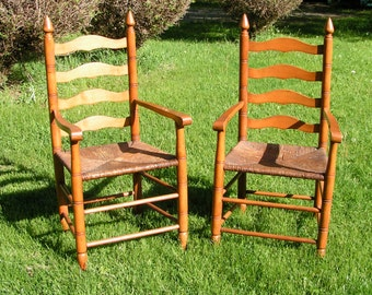 Set Of Two Vintage LADDERBACK Wicker Chairs   1950s Heavy Maple   PICKUP  ONLY