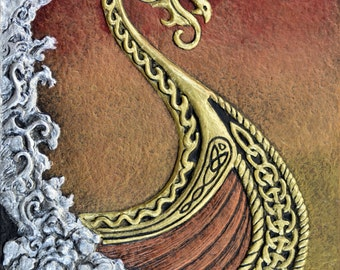 Viking Dawn - Cast Paper - Fantasy art - Drekkar - Long Boat - Raiders - Norse- vikings - celtic - viking ship