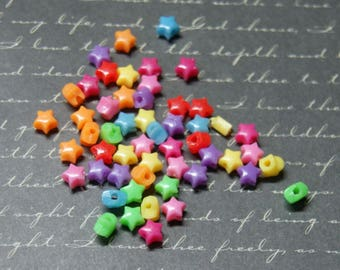50 star multicolored acrylic beads 5mm
