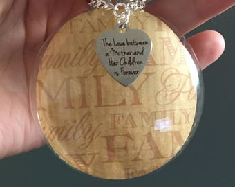 "Custom Glass Ornament, Family Themed Paper, ""The Love Between A Mother And Her Children Is Forever"" Charm, Christmas Keepsake Ornament Gift"