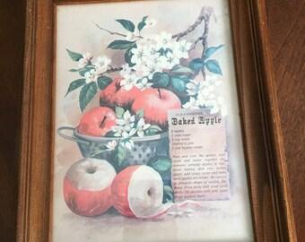 Vintage Framed Apple Picture with Baked Apple Recipe - Wood Frame