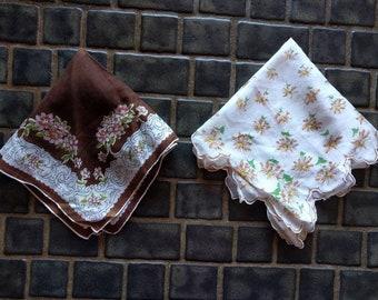Vintage 1940s delicate handkerchiefs, lot of 2, brown, white, floral