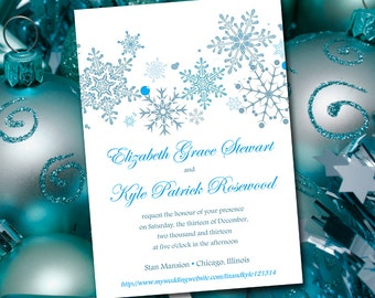 Snowflake Wedding Invitation Template - Winter Wedding Malibu Turquoise Invitation - DIY Wedding Printable - Winter Invitation Template