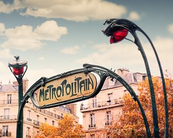 paris photography, metropolitan, metro sign, france, art nouveau, travel photography, french home decor / metro no. 2 / 8x10 fine art photo