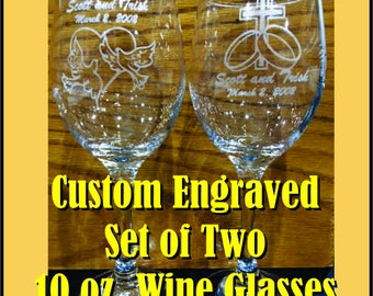 Laser Engraved - Set of Two 14 oz. Wine Glasses
