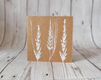 Screen Printed Grasses Card - Blank Card, Greetings Card, Birthday, Thank you